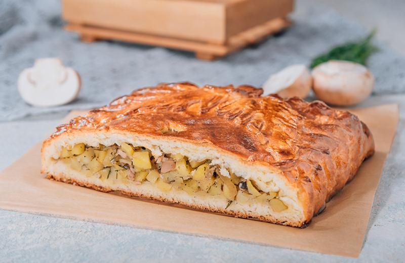 Доставка пирог с картофелем и грибами 1кг